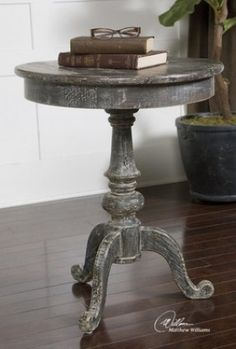 Uttermost Cadey Distressed Reclaimed Wood Round Pedestal Accent Side End Table