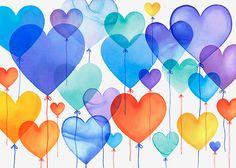 Margaret Berg Art: Blue Birthday Heart Balloons
