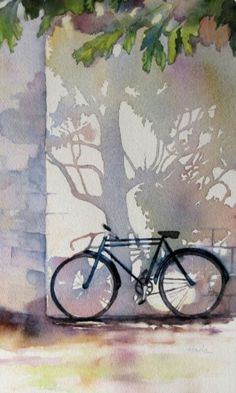 Bicycle Art Watercolor Painting  by Clara Hada (detail)  #shadows