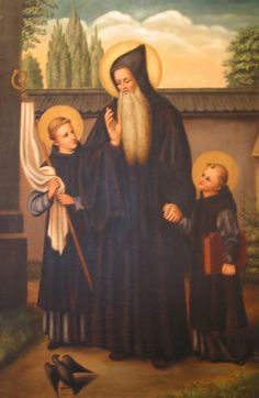 """Saint Benedict with Mauris and Placidus"" painting by Sister Gregory Ems, OSB"