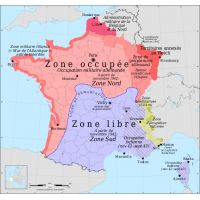 Occupation zones of France during the Second World War / Vichy France (Europe, France, World Wars) French History, European History, American History, Modern World History, Art History, Italy History, Occupation, Paris Brest, France Map