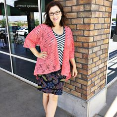 LuLaRoe Cassie skirt with a fun Classic tee and this coral lace Lindsay.