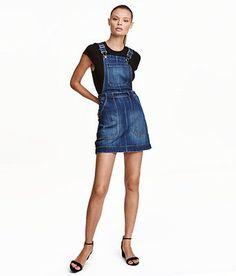 H&M Trend Conscious Cotton Dark Denim Blue Bib Overalls Dress sz 4 6 8 10 12 14 | eBay