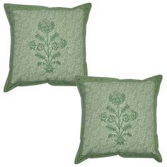 Cotton Cushion Cover Block Printed Pillow Cases Covers 16  Green 2pc Set
