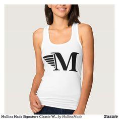 98ce3ca430f922 Mullins Made Signature Classic White Tank Top. Style  Women s Slim Fit Racerback  Tank Top