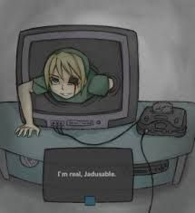 crawling out of your tv.....   making you heart stop... and eventually blacking out.....