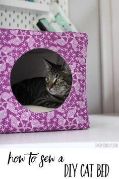 Make a custom cat bed with custom fabric! See how to choose the color and type of fabric with the same design and also how to sew this cozy diy cat cave. Free tutorial shared in sponsored post in collaboration with JOANN. #ad #sewing #crafts #handmadewithjoann