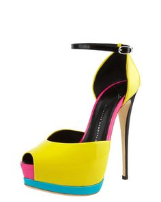 Neon Colorblock Platform d\'Orsay by Giuseppe Zanotti at Bergdorf Goodman.