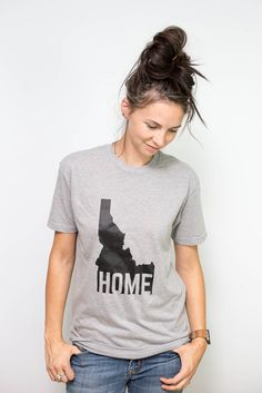 Our Idaho Home design on a comfortable tee. - Black print on heather grey tee - 60% Combed Cotton, 40% Polyester - 4.3 oz