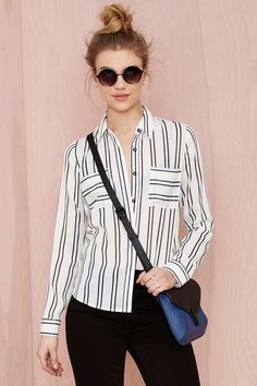 Joa Takin' Care of Business Striped Shirt | Shop Tops at Nasty Gal