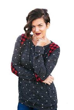 Polka Dot Sweater with Buffalo Plaid Patches - Tara Lynn's Boutique