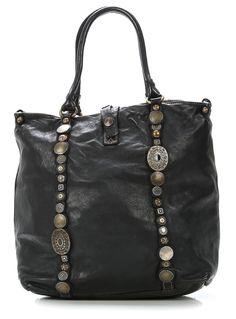 Indian Handtasche Leder schwarz 33 cm
