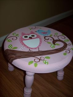 Kiley would adore! Hand Painted Chairs, Painted Stools, Hand Painted Furniture, Funky Furniture, Paint Furniture, Kids Furniture, Furniture Makeover, Wood Painting Art, Painting For Kids