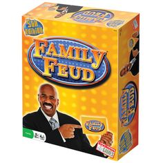 Endless Games Family Feud Edition Based on the popular TV game show, this board game quizzes participants on their ability to give the most popular responses to a variety of questions. With a Bullseye round, Face-Off, The Feud, and … Continue reading → Family Boards, Family Board Games, Funny Would You Rather, Family Feud Game, Family Reunions, Competition Games, Most Popular Games, Tv Show Games, Play Money