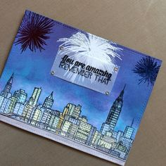The Ton Stamps Pyrotechnics with Altenew Sketchy Cities America and Ranger Distress Ink.