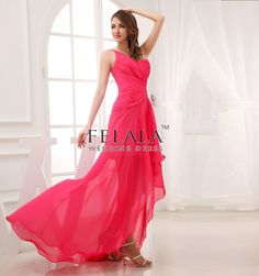 Summer Ladies Beautiful/Sexy Puffy Hot Pink A Line/Princess Sweep Length Chiffon One Shoulder Prom Dresses/Evening Dresses With Ruffle