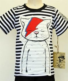 Monster Republic - Boys Short Sleeve Cat Tee with Stripes