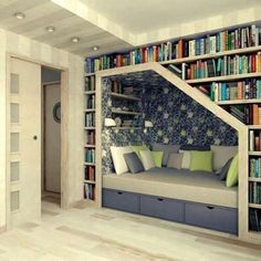 want a home library. with a reading nook.I want a home library. with a reading nook. Home Library Design, Library Ideas, Design Room, Modern Library, Couch Design, Attic Design, Book Nooks, My New Room, Home Fashion