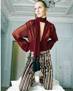 Colorful striped outfit #GaultierParis #SS16 featured in #TheIndependentMagazine February issue. Photographed by #FelixCooper with #OlympiaCampbell.