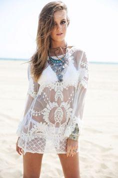 77612584b1522 2017 New Women Summer Beach Wear Crochet Tunics Dresses Long Flare Sleeve  Flower Embroidery Boho Lace Shirt Hollow Out Cover Ups