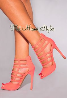 Neon Coral Caged High Heel Booties