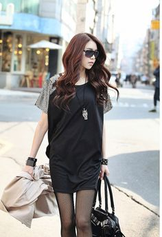 Loose Sequined Shoulders Short Sleeves Short Dress on BuyTrends.com, only price $9.07