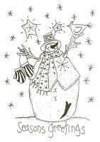 Seasons Greetings-snowman,stitchery,pattern