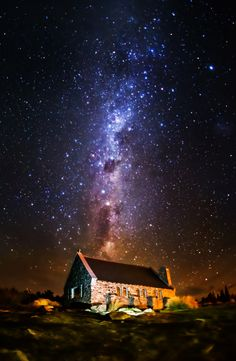 The Church of the Good Shepherd at Lake Tekapo, New Zealand this town has an amazing observatory, and the stars are brighter than anywhere I have even seen them What A Wonderful World, Beautiful World, Beautiful Places, Cosmos, Hdr Photography, Photography Portfolio, Lake Tekapo, The Good Shepherd, Dark Skies