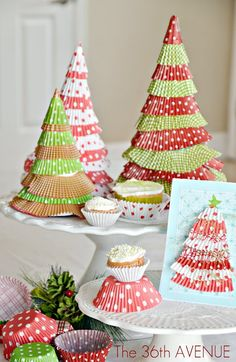 Make Cupcake Liner Christmas Trees {Holiday Tutorial}!!  Ah ha! This will keep me from baking cupcakes and eating them. Okay - I don't actually bake, but I'll buy cupcake liners to make this!