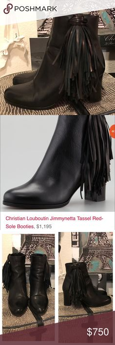 😘SOLD😘 Christian Louboutin Jimmynetta Booties Auth Christian Louboutin Jimmynetta Tassel Booties. 💯%Authentic!! Lightly worn, please see the photos. Gorgeous. Sold out everywhere! Sold for $1195. Size 38 1/2. Ankle boots. Christian Louboutin Shoes Ankle Boots & Booties