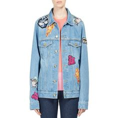 KENZO Patch Denim Jacket ($272) ❤ liked on Polyvore featuring outerwear, jackets, apparel & accessories, button jacket, patched denim jacket, blue cotton jacket, patch jacket and oversized jean jacket