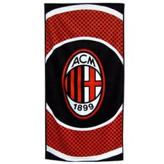 611b25d77b AC Milan Official Bullseye Football Crest Beach Towel (One Size)  (Black Red White)