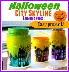 DIY Halloween City Skyline Luminaries with free pattern!  Simple tutorial!