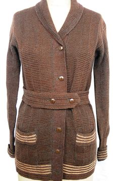Circa 1917 belted hand-knit brown wool cardigan.