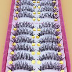 YOKPN Maquillage Faux Cils Cils 1 Boîte 10 Paires De Faux Cils Naturellement Épais Étape Croix Faux Cils Fumé Maquillage