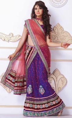 Tranquil Purple Brocade and Net Lehenga Choli With Dupatta - IG6613 USD $ 82.09