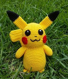 """Bigger Pikachu is… well.. bigger than my other Pikachu! He probably stands about 12 inches including his ears although I never measured him before I gave him away! He's not very big at all, really. A nice """"medium"""" sized plushie!"""