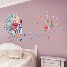 Indian Style 3D Skull Flower Birds butterfly wall stickers living bedroom Sofa decoration adesivo de paredes decals mual poster
