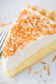 Coconut Cream Pie - this pie is heavenly! Love how it has a little cream cheese mixed in.