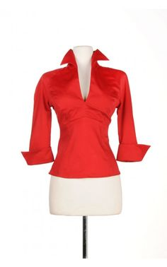 Pinup Couture - Lauren Top in Red Sateen - Plus Size   Pinup Girl Clothing