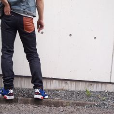 """First Original Denim """"Glow""""  It has washable leather pockets.  Made in Kumamoto, Japan."""