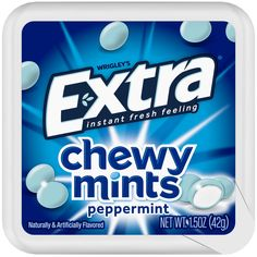 Introducing the next mint sensation: Extra Chewy Mints. From the makers of Extra Gum, this chewy mint has two layers: a thin, crispy outer shell and a chewy, freshening core. Altoids Mints, Extra Gum, Candy Party, Life Savers, Oral Health, Mint Chocolate, Peppermint, Core, Shell