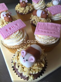Hamster birthday cupcakes.
