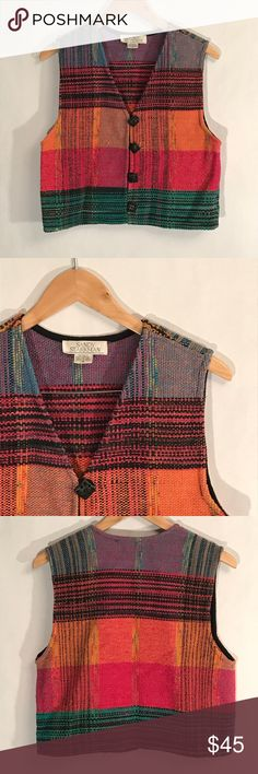 Starkman Multi Color Boho Western Vest Sandy Starkman Multi Color Boho Western Vest. A designer known for her art. Gorgeous unique vest. Very boho western style. Woven tweed style. Detailed buttons. Excellent condition. Medium. Pit to pit. 18in. Length 19.5in. sandy starkman Jackets & Coats Vests