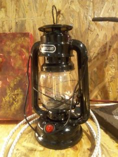 Oil lamp tranformed into electric table light.
