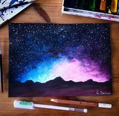 Cool Galaxy Paintings - Cool Mountain Galaxy Art Galaxy Art Art Painting Artwork 40 Super Cool Milky Way Paintings For Outerspace Lovers Galaxy Easy Acrylic Painting Of A Gal. Draw Galaxy, Galaxy Drawings, Galaxy Art, Cool Drawings, How To Paint Galaxy, Galaxy Painting Acrylic, Arte Inspo, Art Watercolor, Watercolor Landscape