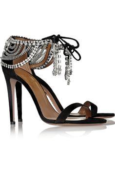 Aquazzura + Olivia Palermo embellished suede sandals NET-A-PORTER.COM