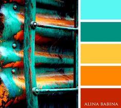 Color Palette/ Aqua, Green, Mustard, Orange, Rust