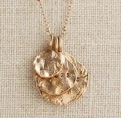 $160, molten coin necklace, gold necklace, personalized name necklace, personalized jewelry, family necklace | #ThreeSistersJewelryDesign for RH Baby & Child