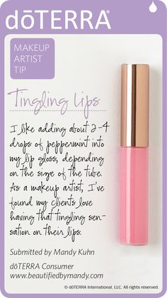 Try this tip using dōTERRA Peppermint essential oil for tingling lips! Get your essential oils here ----> www.mydoterra.com/saniarenaud